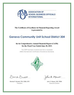 Geneva School District Awarded Certificate of Excellence in Financial Reporting image