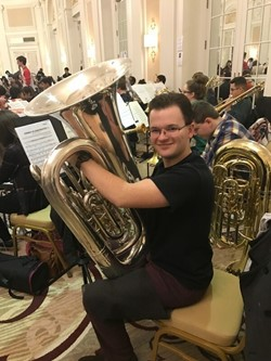 Student Playing the Tuba