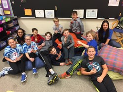 5th Graders Pose with Prize from Math Olympiad