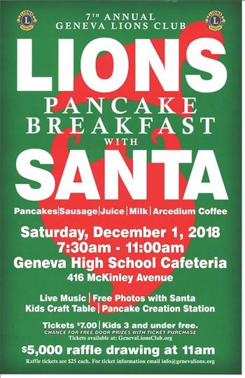 Geneva Lions Club Breakfast with Santa