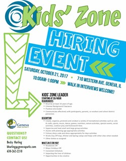 Kids Zone Hiring Event