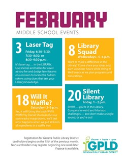 GPLD Middle School Events February