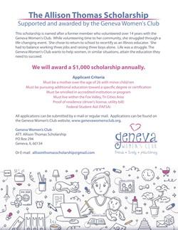 Allison Thomas Scholarship by Geneva Womens Club