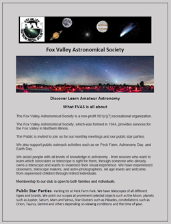 Fox Valley Astronomical Society June 1