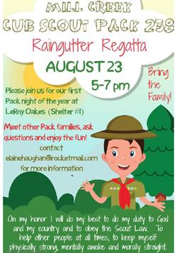 Cub Scout Raingutter Regatta Aug 23