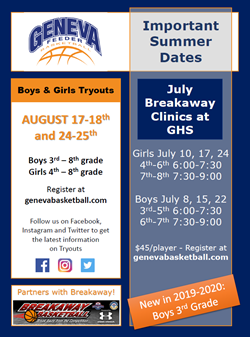 Feeder Basketball Important Dates Aug 17
