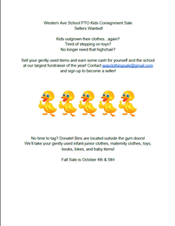 Western Ave School PTO Consignment Sale Sept 29