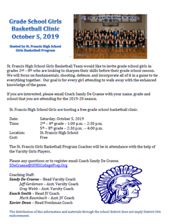 St Francis BBall Clinic Oct 6