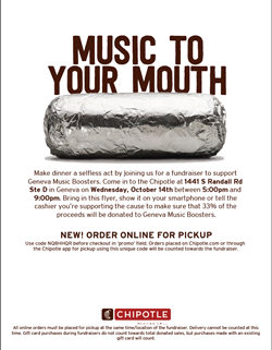 GMB Chipotle Fundraiser Oct 15