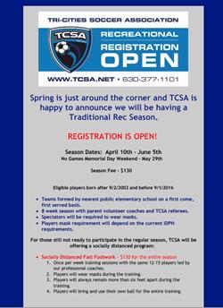 TCSA Spring 2021 Registration Ad May 11