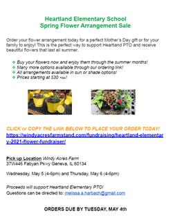 Heartland Elementary School Spring Flower Sale May 5