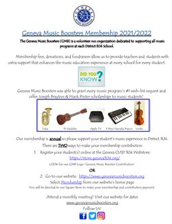 2021 2022 Music Boosters School Registration Dec 31