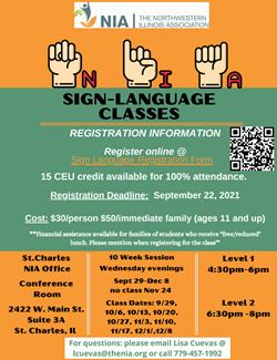 Sign Language Class Sept 25
