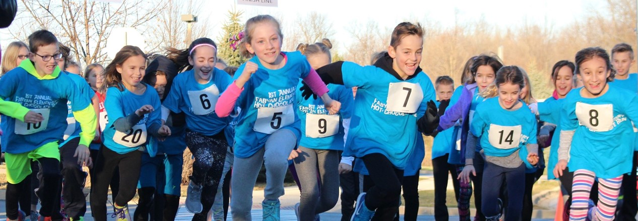 Fabyan Elementary students participate in the school's first Hot Chocolate Run to promote healthy lifestyles