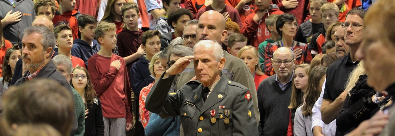 Relatives of GMS North students are honored during the annual Veterans Day Ceremony