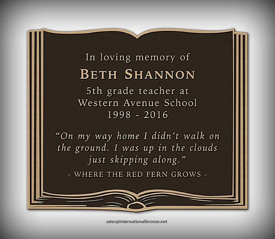 Beth Shannon Memorial Plaque