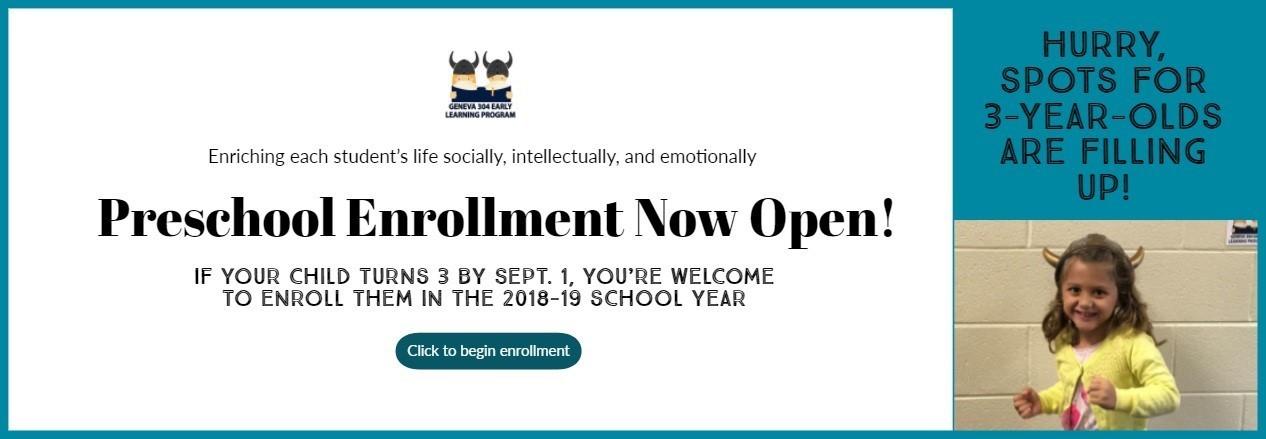Geneva Early Learning Program 2018-19 Enrollment Open!