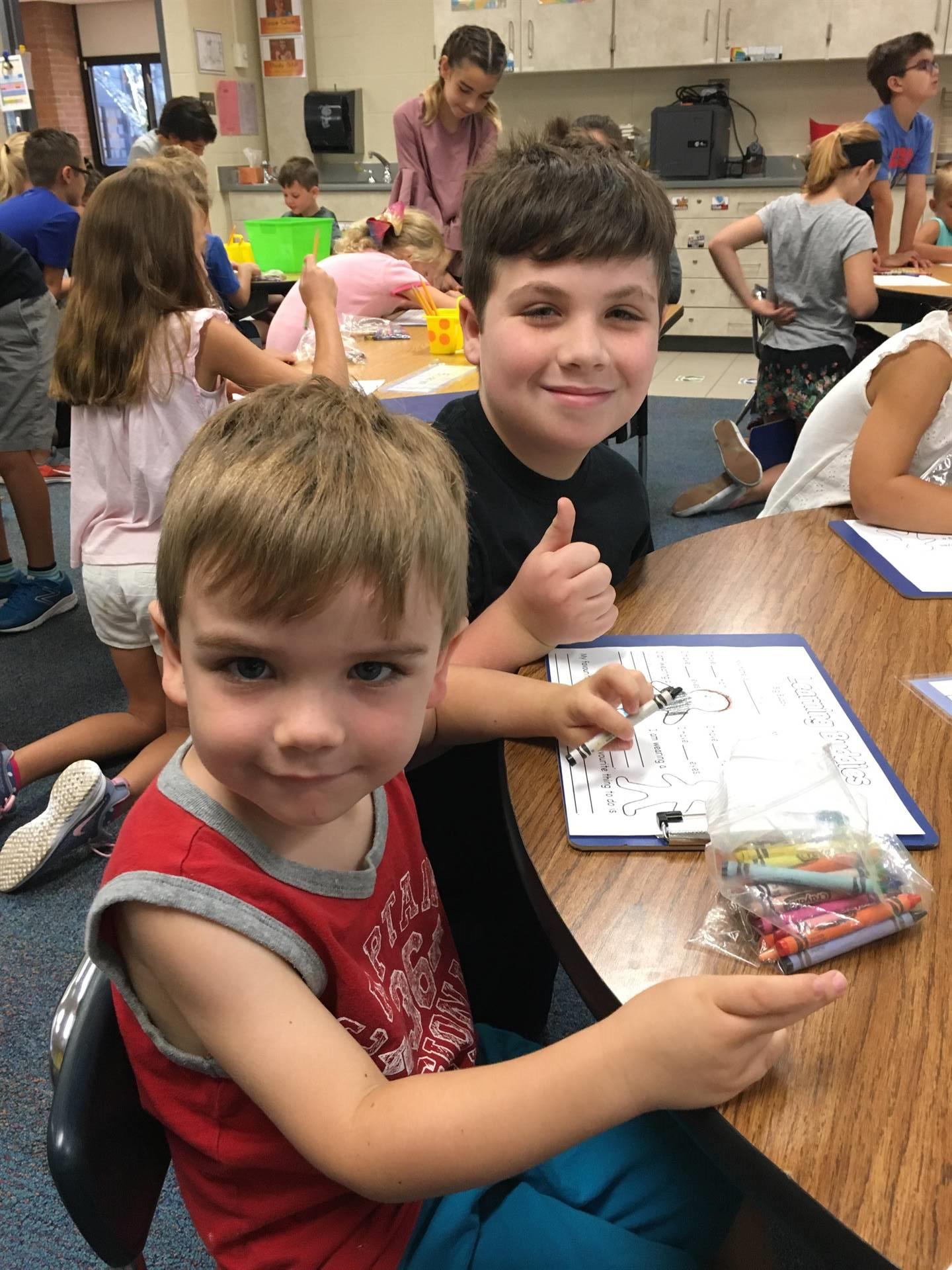 Colin and 4th Grade Buddy