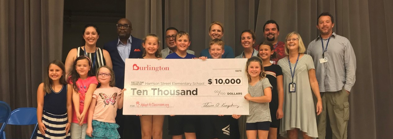 Harrison Street School Accepts Donation from Burlington Stores