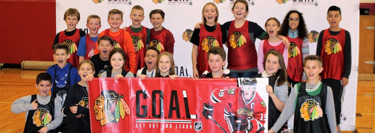FES Fifth Graders in Blackhawks GOAL Clinic