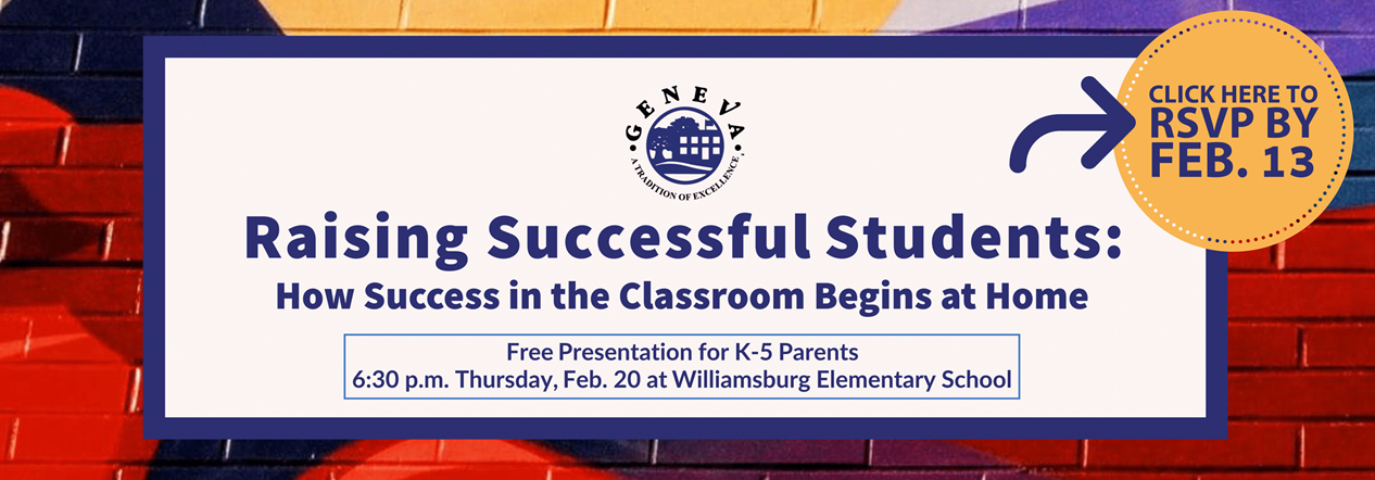 """Parent Presentation Feb. 20 at 6:30 pm titled """"Raising Successful Students"""" Please click here to register"""