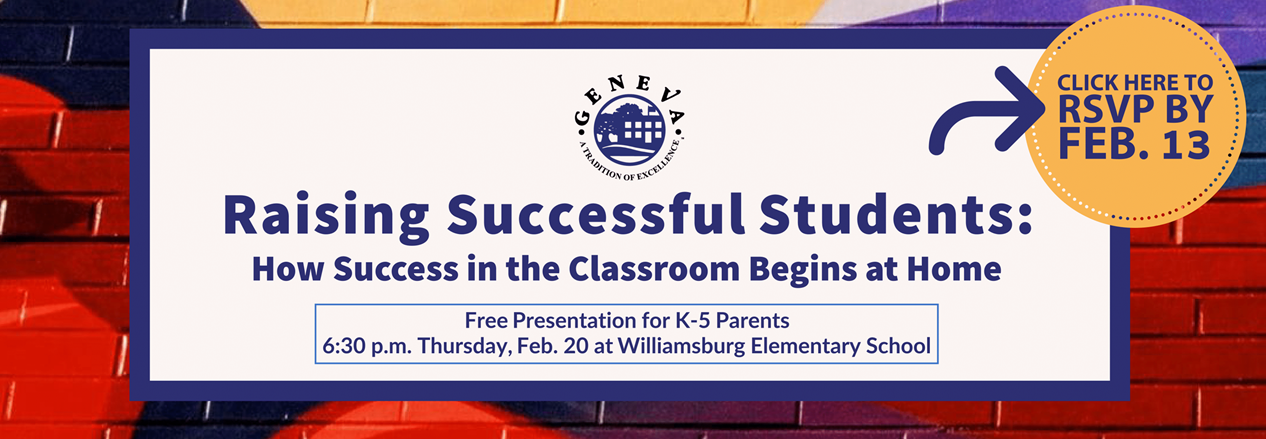 "Parent Presentation Feb. 20 at 6:30 pm titled ""Raising Successful Students"" Please click here to register"